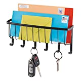 mDesign Briefablage und Schlüsselleiste aus Stahl- für ordentliche und platzsparende Aufbewahrung von Schlüssel, Briefe, Prospekte – Schlüsselbrett mit Ablage – Farbe: Mattschwarz
