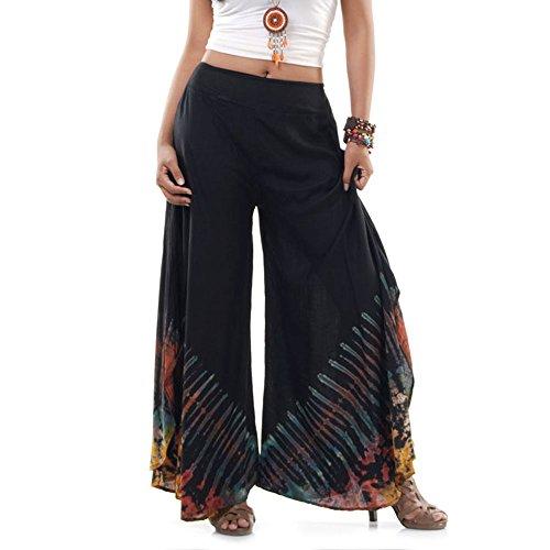 Princess of Asia Extrem Weite Damen Hippie Ethno Goa Thai Hose Schlaghose 36 38 40 S M (Schwarz) (Hose 70er Jahre)