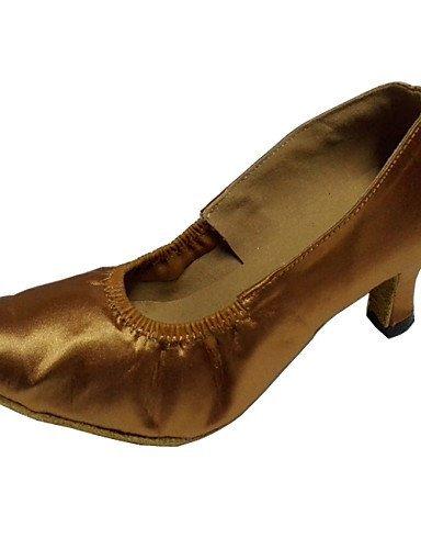 ShangYi Chaussures de danse ( Marron / Blanc ) - Personnalisables - Talon Personnalisé - Satin - Latine / Moderne / Salsa Tan