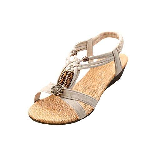 Promotion! Offene Sandalen Damen Sommer Flach Sandalen Mädchen,SamMoSon Hot Sale Slingback Sandalen Elegant Römische Schuhe Peep-Toe Low Shoes Frauen Flip Flops Hausschuhe (Beige, 38 EU)