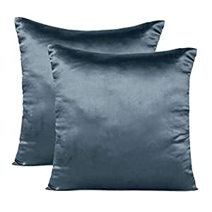 Soft and Comfortable Silky Satin Silk Pillowcase Pillow Case Cover for Hair & Skin Home Decor (Cushion Cover Castlerock Grey, 12 x 12)
