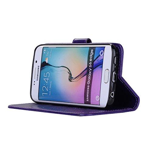 Custodia Galaxy S6 Edge, ISAKEN Cover per Samsung Galaxy S6 Edge, Galaxy S6 Edge Flip Cover con Strap, Elegante 2 in 1 Custodia in Sintetica Ecopelle Sbalzato PU Pelle Protettiva Portafoglio Case Cove Ragazza: viola