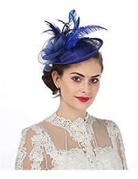 Sinamay flor pluma diadema Fascinator Wedding Headwear raza de las señoras  Royal Ascot Pillbox boda cóctel 156530c942d3