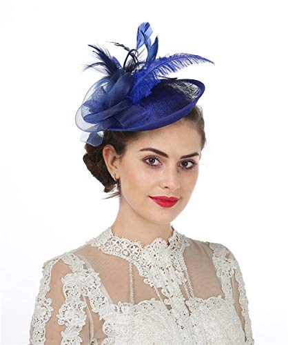 d4627227 Sinamay flor pluma diadema Fascinator Wedding Headwear raza de las señoras  Royal Ascot Pillbox boda cóctel Tea Party Derby Hat para mujeres  (A4-Sapphire ...
