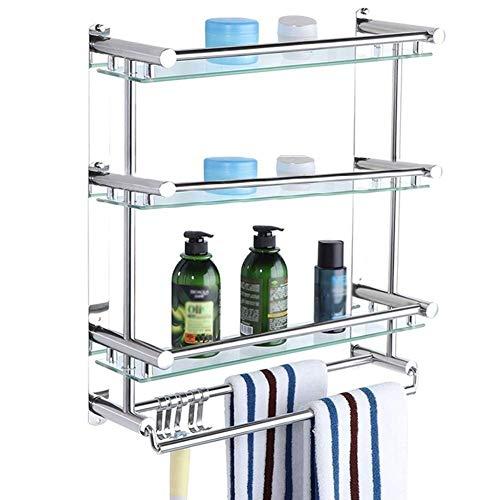 ZWBD Bathroom Storage Shelf / 3rd Floor Rack-Racks for Badezimmer Keines Rost Teleskop Regal rostfreier Stahl for Badezimmer mit Handtuchwärmer (Größe: 50 cm) Badezimmer-Partition