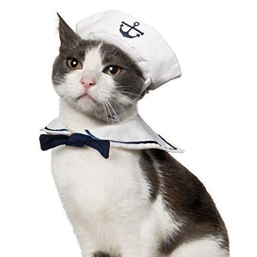 Namsan Katze Hund Sailor Kostuem Hut Marine Krawatte