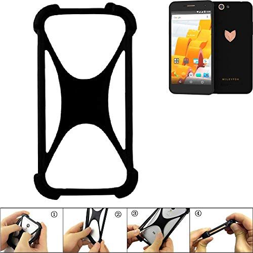 K-S-Trade Bumper Wileyfox Spark x Silikon Schutz Hülle Handyhülle Silikoncase Softcase Cover Case Stoßschutz, schwarz (1x)