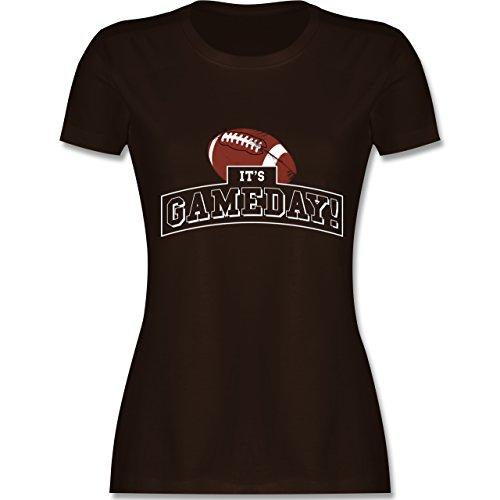Sonstige Sportarten - It's Gameday Vintage Football - S - Braun - L191 - Damen T-Shirt Rundhals