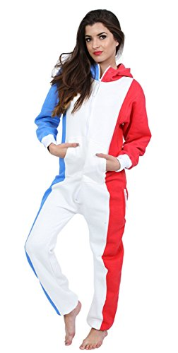 Juicy Trendz Dame Frauen Unisex One Zip Onesie Jumpsuit Playsuit Anzug FR-FLAG S (Fr Overall)
