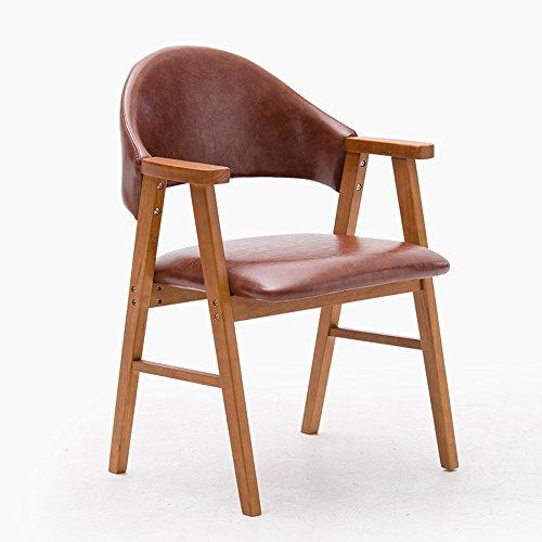 DEO Bureau d'ordinateur Chaise de salle à manger en bois massif avec dossier d'accoudoir de chaise d'étude d'accoudoirs beaucoup de couleurs durable (Couleur : Marron clair, taille : A)