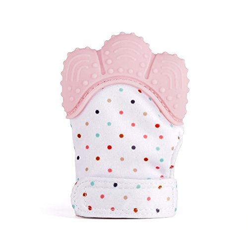SOYAR Colorful Baby Teething Mittens,Soothing Pain Relief- Age 3-12 Months Protects Babys Hands from Salvia & Chewing – Secure Adjustable Strap.-Quarlz Pink(1PC) 41ttdKDBR5L