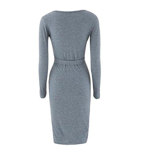 Rcool Elegante Damen Paket Hüfte schlank Taste Bleistiftrock Business Cocktail-Kleid mit V-Ausschnitt Grau