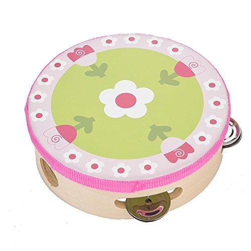 Fafeims Tamburin-Holz, Praktische haltbare Tamburine für Kinder, 15 cm hölzerne Tamburin-Handtrommel-Glocke Musikpercussion-Instrument-Spielzeug-Geschenk(3#)