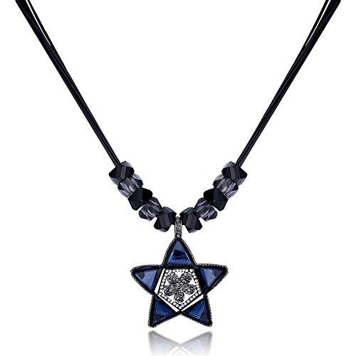 Blue Star Leder Seil Kette Halskette Pullover Halskette Hochzeit Geburtstag Geschenk für Frauen Mädchen