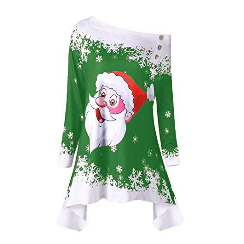 Damen Weihnachten Kostüm Geili Frauen Mode Weihnachtsmann Schneeflocke Druck Schulterfrei Asymmetrische Langarm T-Shirt Tops Bluse Große Größe Freizeit Christmas Top ()
