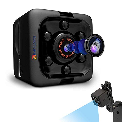 Babylon73 Cop Cam Mini Nanny Camera - Cameras for Indoor or Outdoor Surveillance - Home Office or Car Video Recorder with 1080p HD Recording and Night Vision Wireless, No WiFi Needed