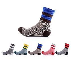 Waymoda Unisex 5 Pairs Sports Running Crew Socks, Outdoor Walking Hiking Camping Trekking Elastic Cotton Polyester Sock, Color Strip Pattern Golf Stocking, Men Women Boys Girls UK 2-7/ EUR 34-41