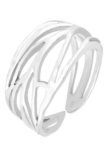 Elli Damen Ring Wickelring Blatt mit Ornament Symbol im Festival Boho Trend in 925 Sterling Silber