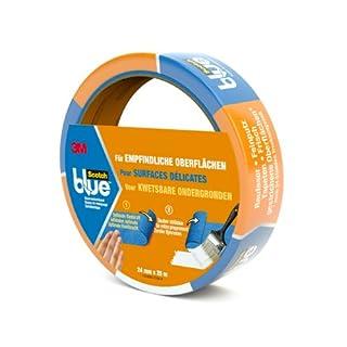 Scotch Blue 80EU2425 Malerabdeckband (Malerkrepp) optimale Klebkraft auf empfindlichen Oberflächen, 24 mm x 25 m, blau