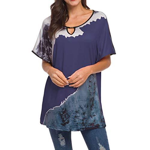 CAOQAO Art- Und Weise Damen Oansatz Spitze Casual Bat Kurzarm Print Top Bluse Lose Mode BeiläUfig Tunika Tops(XXL,Marine)
