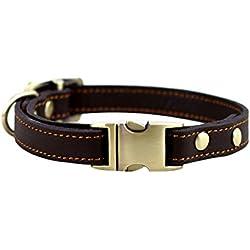 ZEEY Collares de cuero para mascotas para perros pequeños, cuello ajustable 24cm-36cm y 1,5 cm de ancho, hebilla de metal clásico básico de cuero sólido collar de perro (Brown)