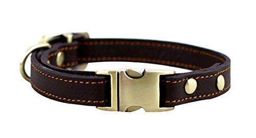 PENTAQ Perros Pequeños Collares de Cuero Collar de Entrenamiento de Paseo de mascotas Durable Cómodo Cuello de Cuero Básico Suave Ajustable 24cm-36cm Collar de Cachorro Principal (Marrón)