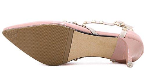 YE Damen High Heel Spitze Geschlossen 6cm Absatz Stiletto T-Strap Lack Leder Pumps Mit Riemchen Nieten Vintage Schuhe Rosa