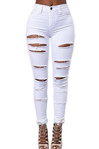 Le donne alte vita disinvolta strappato magro lungo jeans addosso i pantaloni, bianco, eu m/cn m