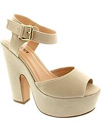 Mujer Correa Tobillo Zapatos Plataforma Tacones Faux Gamuza Sandalias