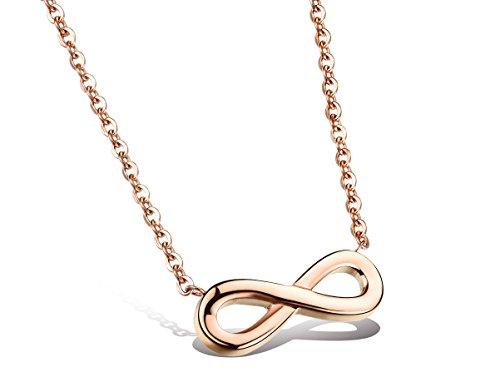 """Kim Johanson Edelstahl Damen Halskette mit Anhänger """"Infinity"""" in Roségold Unendlichkeit Zeichen inkl. Geschenkverpackung"""