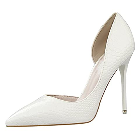 OALEEN Escarpins Pointu Serpent Vernis Côté OuBlanc Chaussures Talon Haut Aiguille Office Femme Blanc 38
