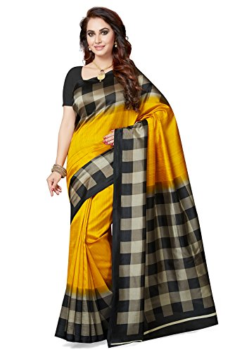 Ishin Women's with Blouse Piece Art Silk Saree (Ishinrtwz-28040_Yellow_Free Size)