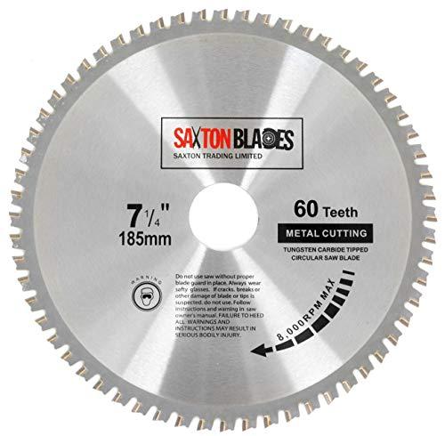 TCT18560TMB - Hoja de sierra de saxton para Bosch Makita Dewalt Evolution (acero circular, aluminio, cobre, 185 mm x 60 toneladas, compatible con sierras de 190 mm)