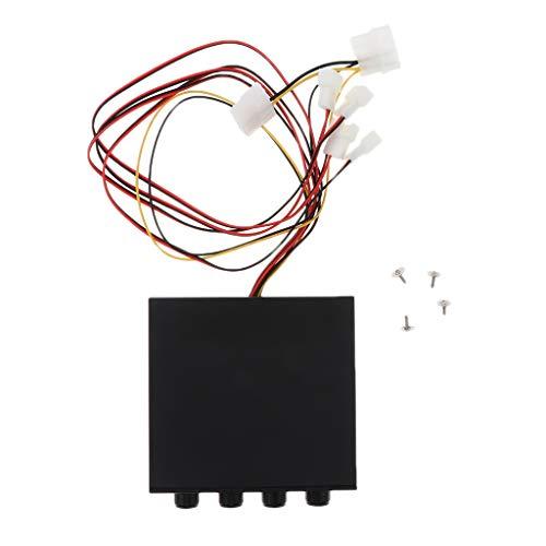 perfk Lüftersteuerung 4-Kanal-LED mit roter LED, steuert bis zu 4 PC-Lüfter unabhängige Drehknopfsteuerung -