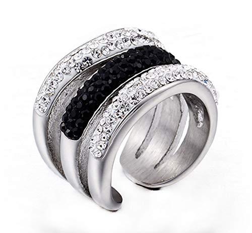 Wibbosad Damen Zart Öffnung Voll Diamant Strasssteine Rostfreier Stahl Ringe,Silber,Größe 62 (19.7)