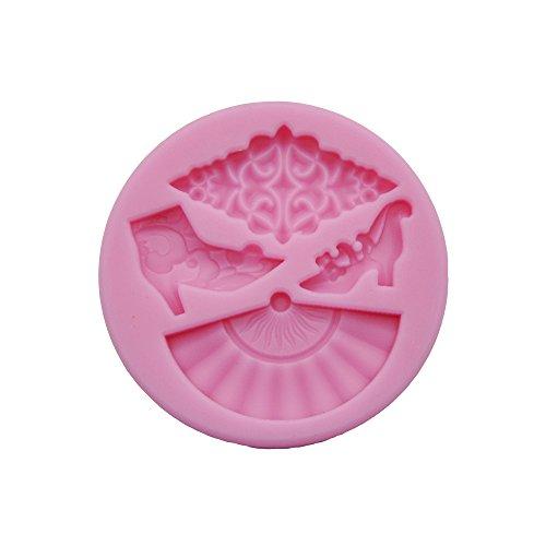 DeColorDulce Abanico Molde 3D, Silicona, Rosa, 16x10x3 cm