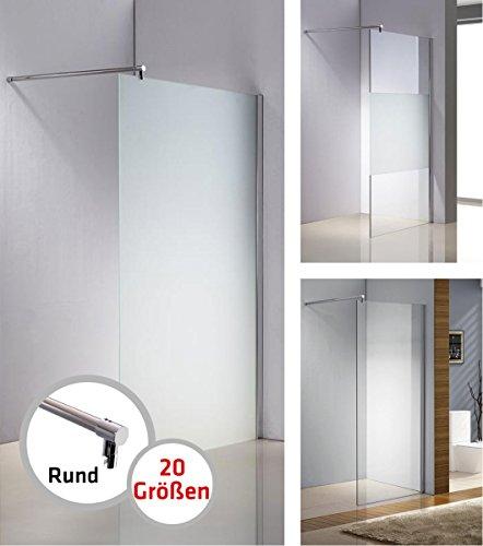 CLP Edelstahl-Duschabtrennung, NANO Glas, Haltestange: RUND (bis zu 3 Glasfarben und 20 Größen wählbar) milchglas, 90 x 200 x 100 cm