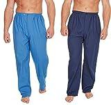 Insignia Confezione da 2 Mens Tradizionale Pigiama Pantaloni con Bottoni - Cielo & Navy, XX-Large