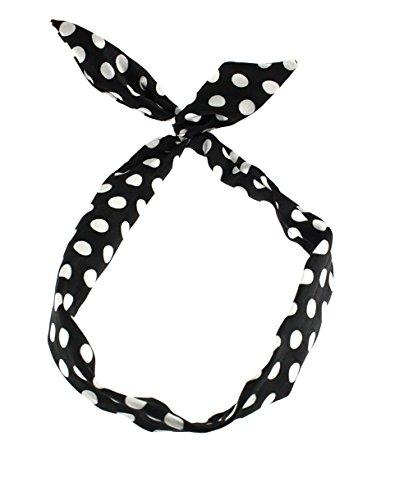 Zac's Alter Ego®, Haarband mit Punktmuster im Vintage-Stil, mit Draht verstärkt, Schwarz