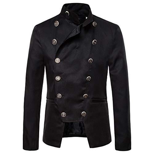 ZHANSANFM Herren Steampunk Jacke Button Down Gothic Einfarbig Blazer Military Elegant Stehkragen Mantel Outwear Vintage Viktorianischen Party Cosplay Kostüm Uniform für Männer (XL, Schwarz)