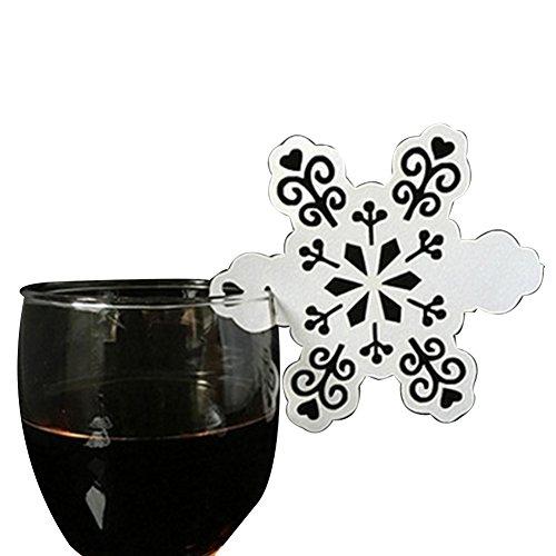 en Laserschnitt elegant weiß niedlich Schneeflocke Papierform Schultütenkarten Party Dekoration Glas Weinglas Karte 50 Stück weiß ()