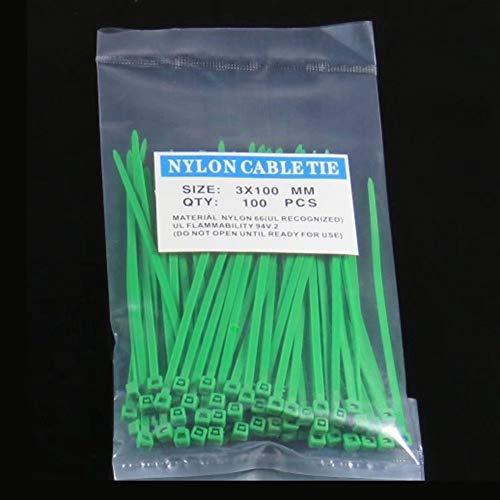wiBille 100 Stück selbstsichernde Nylon-Kabelbinder mit Reißverschluss für die Befestigung von Taschen, Kabeln, Rohre, grün, 3 * 100mm (Nylon Kabelbinder Grün)