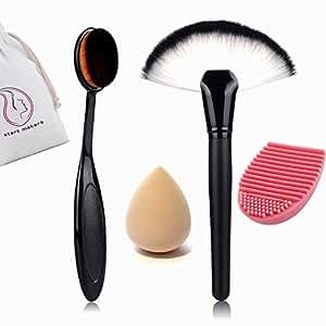 Start makers pennelli make up - Fondazione Curve Trucco Cosmetico Pro Spazzola Ovale - powder pennelli trucco - contorno del viso arrossisce Highlighter Bronzer Set - spugna trucco - brush cleaner