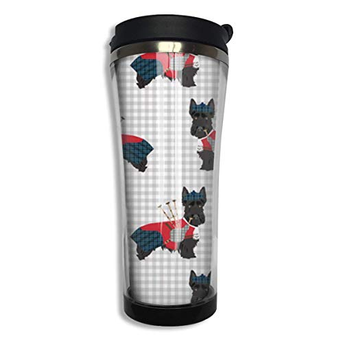Tumbler Travel Mug Scottie Dog with Bagpipes nsulated Both Cold & Hot Beverage Cup with Lid 14 Oz (420 Ml) Tall Beverage