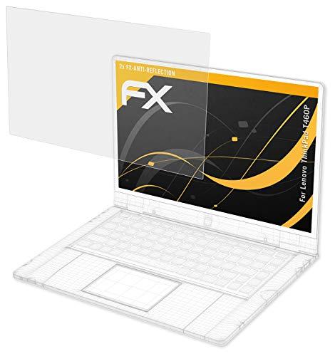 atFolix Panzerfolie kompatibel mit Lenovo ThinkPad T460P Schutzfolie, entspiegelnde & stoßdämpfende FX Folie (2X)