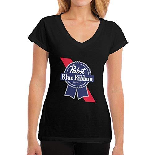 T-Shirt für Frauen, Pabst Blue Ribbon Beer Logo Short Tee V Neck Cotton Summer T-Shirt for Work Sports