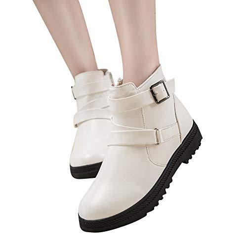 TianWlio Boots Stiefel Schuhe Stiefeletten Frauen Herbst Winter Mode Feste Warme Winter Flache Schnee Kurze Stiefel Reißverschluss Runde Kappe Schuhe Weihnachten Weiß 40