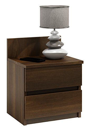 Nachtschrank Nachtkonsole Nachttisch Nachtschränkchen Beistelltisch V86 (Nussbaum) (2 Nussbaum Beistelltisch Schublade)