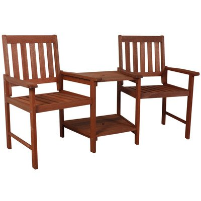 Solid Wood Twin Garden Seat with Table - Excellent addition to any garden this solid wood double seat with built in