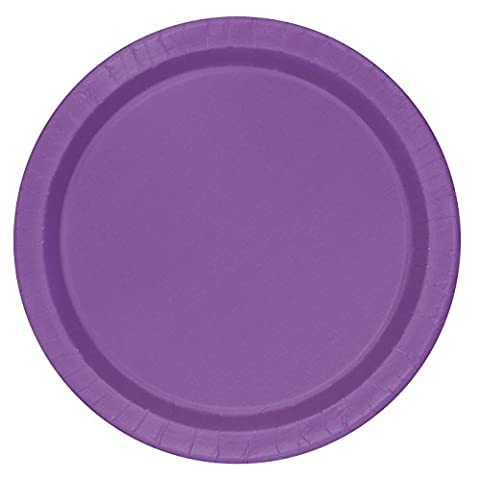 Unique Party - 34477 - Paquet de 16 Assiettes en Carton - 23 cm - Violet